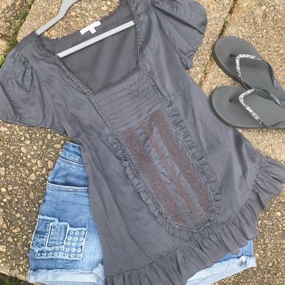 Trinity Tops - Grey ruffled blouse